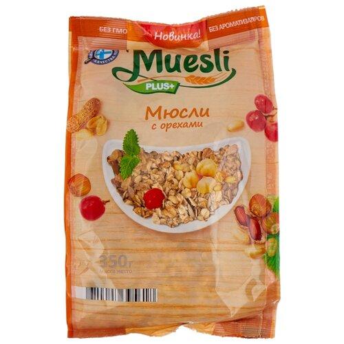 Мюсли Muesli plus с орехами, пакет, 350 г мюсли axa медовые с фруктами и орехами 250 гр