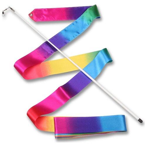 Палочка с лентой для художественной гимнастики Indigo АВ227-24 радуга