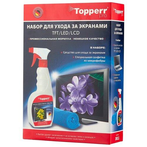 Фото - Набор Topperr 3011 чистящий спрей+многоразовая салфетка для экрана фильтр для пылесосов topperr 1159 fsm 211