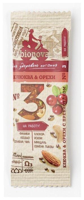 Ореховый батончик BIONOVA №3 с клюквой и орехами 35 г