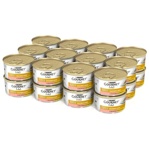 Корм для кошек Gourmet Голд с лососем, с курицей 24шт. х 85 г (кусочки в соусе) корм для кошек gourmet голд с форелью 24шт х 85 г кусочки в соусе