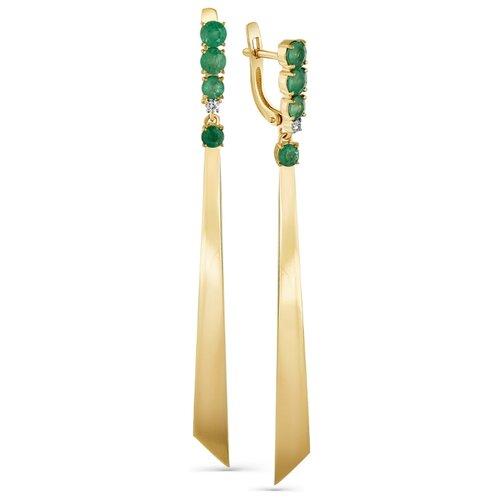 Мастер Бриллиант Золотые серьги с изумрудом, бриллиантом 2-107-669-01