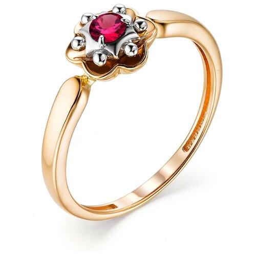 АЛЬКОР Кольцо с 1 рубином из красного золота 13168-103, размер 18