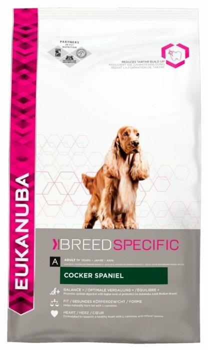 Корм для собак Eukanuba Breed Specific Коккер-спаниель для здоровья кожи и шерсти, курица