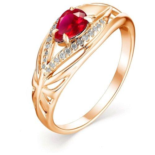 АЛЬКОР Кольцо с рубином и бриллиантами из красного золота 13136-103, размер 18 фото