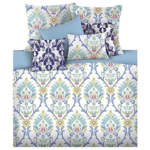 цена Постельное белье 1.5-спальное Mona Liza Safa 50х70 см, сатин голубой/белый онлайн в 2017 году