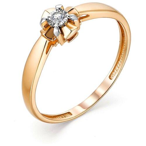 АЛЬКОР Кольцо с 1 бриллиантом из красного золота 13220-100, размер 16.5 фото