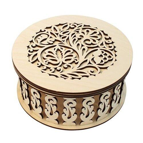 Astra & Craft Деревянная заготовка для декорирования Шкатулка круглая резная L-270 дерево