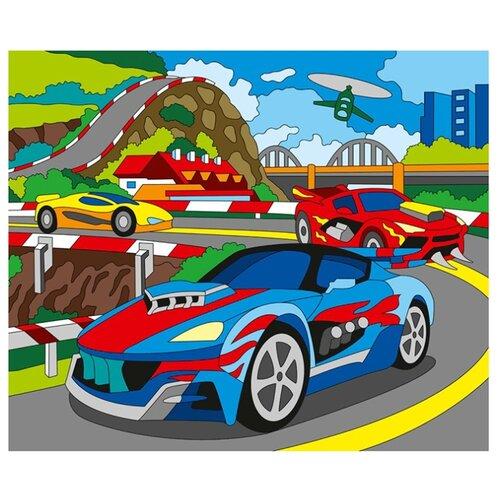 Купить Рыжий кот Картина по контурам Красивые машины 25х30 см (Х-0392), Картины по номерам и контурам