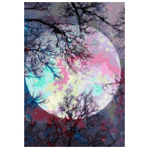 Фото - Картина по номерам Неоновая луна, 30х40 см цветной картина по номерам белый тигр 30х40 см me1072