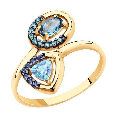 SOKOLOV Кольцо из золота с голубым и синим топазами и фианитами 715697, размер 16.5 фото