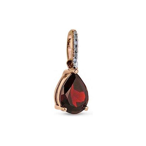 Фото - ЛУКАС Подвеска с гранатом и бриллиантами из красного золота P01-D-33612-GR лукас подвеска с 19 бриллиантами из красного золота p01 d 33651