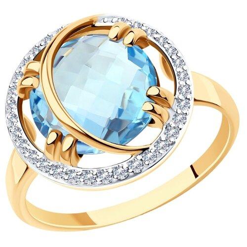 Diamant Кольцо из золота с топазом и фианитами 51-310-00944-1, размер 18.5 diamant кольцо из золота с топазом и фианитами 51 310 00292 1 размер 18