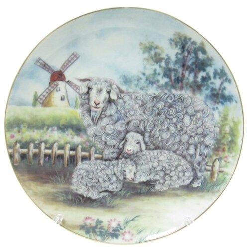 Тарелка декоративная настенная Florento Белые овечки, 18 см разноцветный