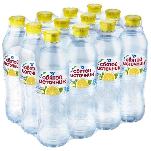 Питьевая вода Святой Источник Лимон негазированная, ПЭТ, 12 шт. по 0.5 л