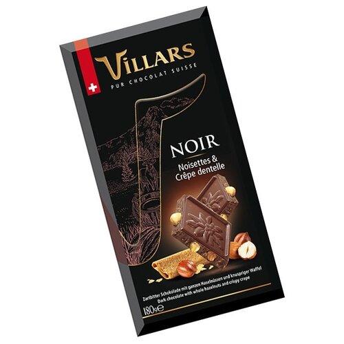Шоколад Villars Noir Noisettes & Crepe dentelle темный с цельным фундуком и хрустящими вафлями, 180 г