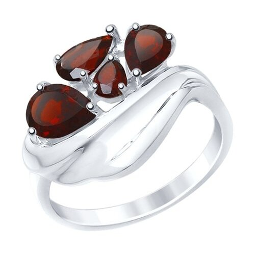 SOKOLOV Кольцо из серебра с гранатами 92011443, размер 17