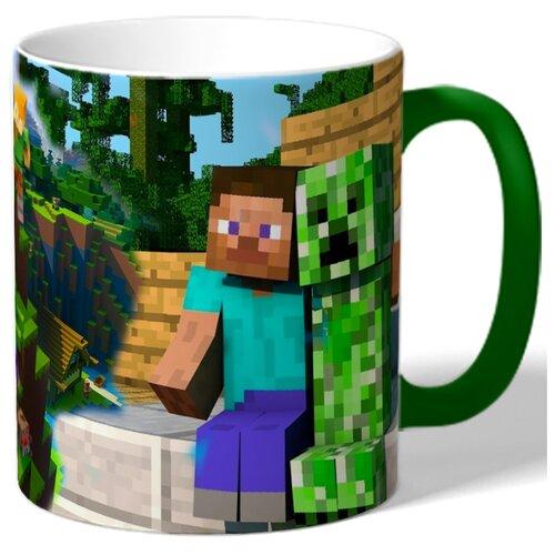 Кружка с цветной ручкой и ободком по мотивам игры Майнкрафт (Minecraft), персонажи