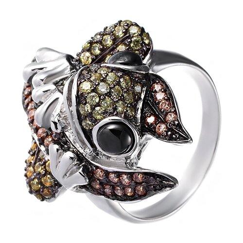 JV Кольцо с ониксами и фианитами из серебра R110160C-OX-001-WG, размер 17.5 фото