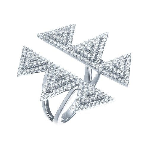 JV Кольцо с фианитами из серебра JC0102R-001-WG, размер 17 фото