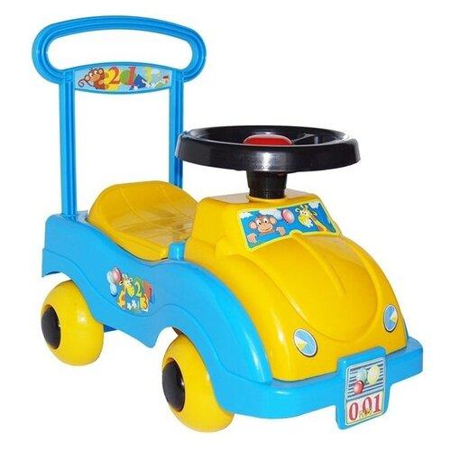 Купить Каталка-толокар Совтехстром Автомобиль № 1 (У438) со звуковыми эффектами желтый/голубой, Каталки и качалки