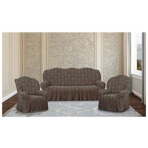 Комплект чехлов Жаккард Буклированный на диван и 2 кресла, 626/311.011, KARTEKS