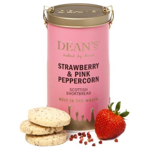 Печенье Dean's Strawberry & Pink Peppercorn Shortbread Rounds сливочное с клубникой и розовым перцем в жестяной банке, 150 г