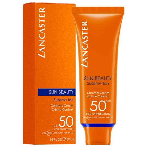 Lancaster крем Sun Beauty Comfort Cream Сияющий загар, SPF 50, 50 мл, 1 шт lancaster гель sun sport invisible face gel matte finish spf 30 50 мл