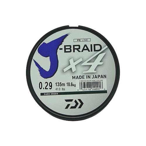 Плетеный шнур DAIWA J-Braid X4 dark green 0.29 мм 135 м 18.6 кг