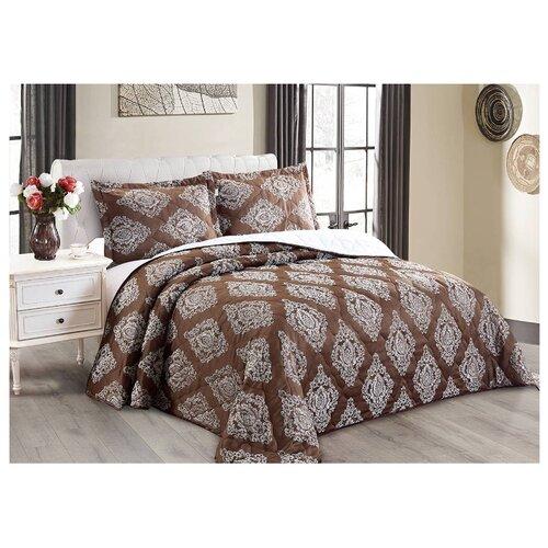 Комплект с покрывалом Cleo Versailles 220х240 см, коричневый комплект с покрывалом cleo versailles 240х260 см коричневый