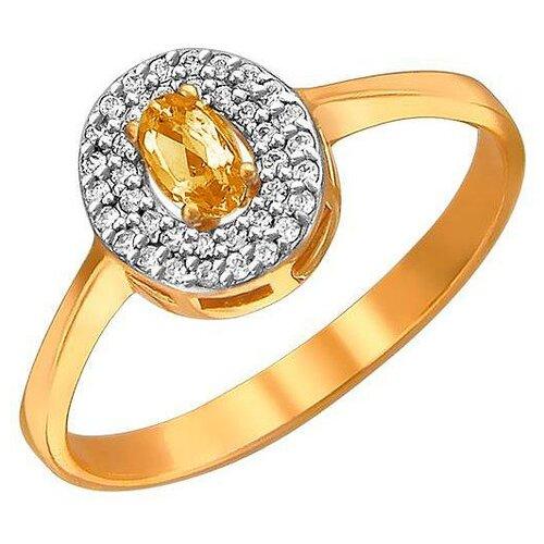 Эстет Кольцо с фианитами и цитрином из красного золота 01К3110950-5, размер 16 эстет кольцо с 5 фианитами из красного золота 01к115186 размер 16