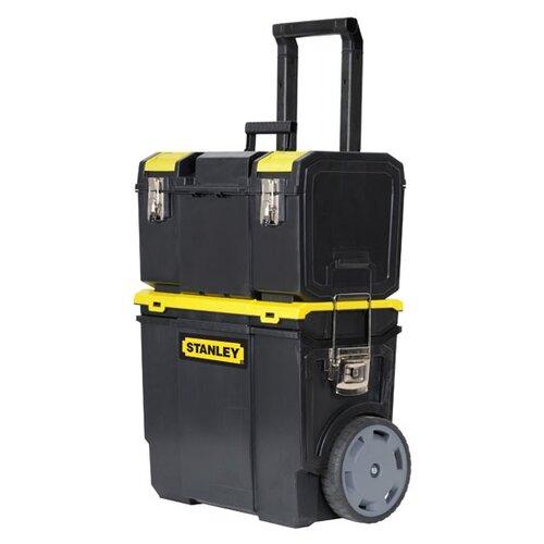 Ящик-тележка STANLEY 1-70-326 Mobile Work Center 3 в 1 47.5x28.4x63 см черный/желтый ящик с органайзером stanley mega line cantilever 1 92 911 49 5x26 1x26 5 см черный желтый