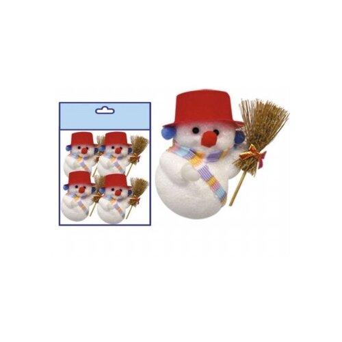 Фото - Набор елочных игрушек Snowmen Снеговик блестящий, в шляпе, 10 см, 4 штуки набор елочных игрушек snowmen снеговик белый с метлой 4 штуки