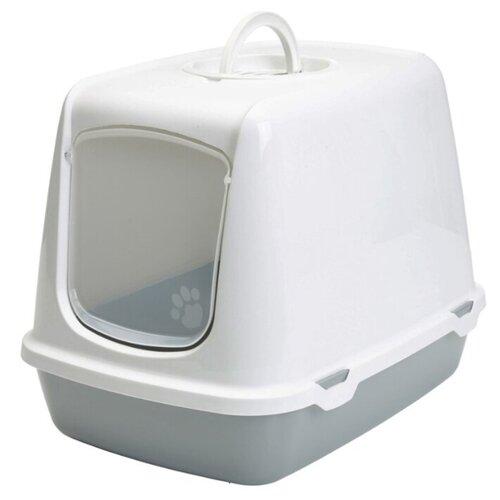 Туалет-домик для кошек SAVIC Oscar 50х37х39 см белый/серый 1 шт.