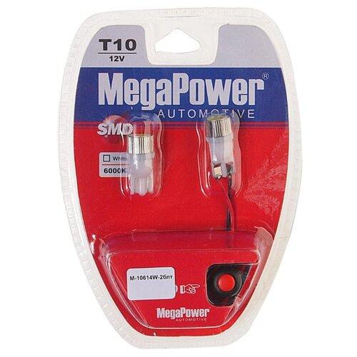 Фото - Лампа автомобильная светодиодная MegaPower 10614W-2блт 12V W5W (T10) 10W 2 шт. 2pcs t10 w5w 80w cree xqb chip led hid