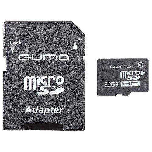 Фото - Карта памяти Qumo microSDHC class 10 UHS-I U1 32 GB, чтение: 90 MB/s, адаптер на SD карта памяти pioneer microsd class 10 uhs i u1 16 gb чтение 70 mb s адаптер на sd