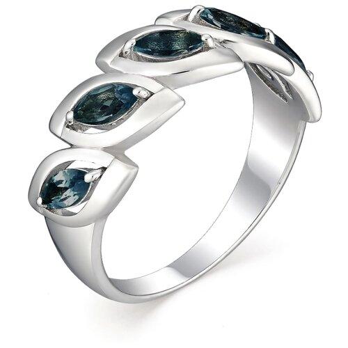 АЛЬКОР Кольцо с 5 сапфирами из серебра 01-0511-0НСЛ-00, размер 16 фото