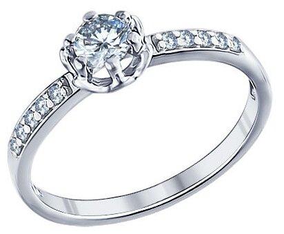 SOKOLOV Помолвочное кольцо из серебра с фианитами 94011264, размер 17.5