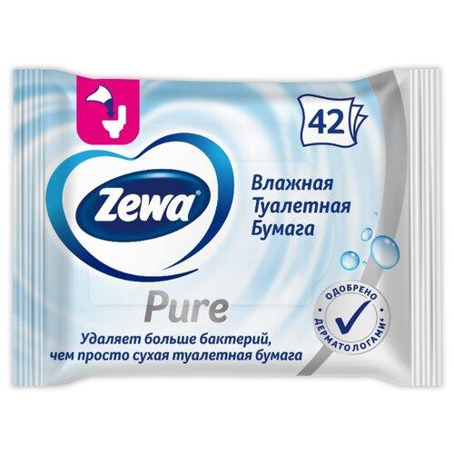 Влажная туалетная бумага Zewa Pure 42 л. туалетная бумага zewa миндальное молочко 42 л
