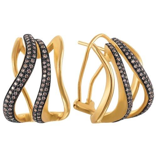 JV Серьги из золота 585 пробы с бриллиантами ME33541-BR-YG-DN-YG