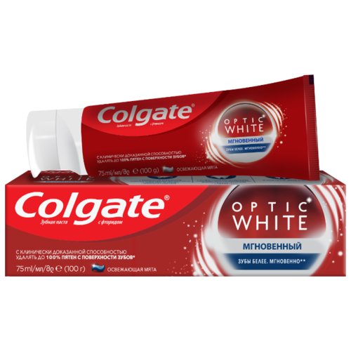 Зубная паста Colgate Optic White Мгновенный отбеливающая, 75 мл электрическая зубная щетка colgate 360° optic white powered toothbrush синий