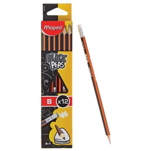 Купить Maped Набор чернографитных карандашей Black Peps 12 штук (851724), Карандаши