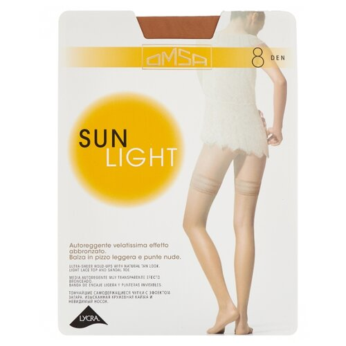 Чулки Omsa Sun Light Aut 8 den, размер 3-M, beige naturel (бежевый) колготки omsa sun light 8 beige naturel бежево телесные размер 4