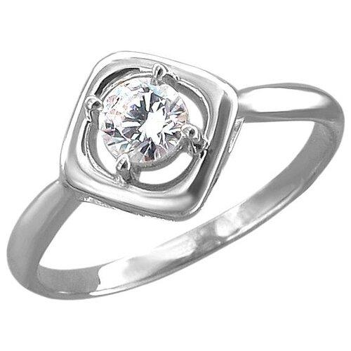Эстет Кольцо с 1 фианитом из серебра 01К1513034, размер 17.5