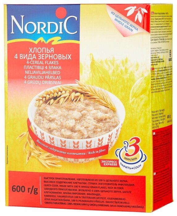Nordic Хлопья 4 вида зерновых, 600 г — купить по выгодной цене на Яндекс.Маркете
