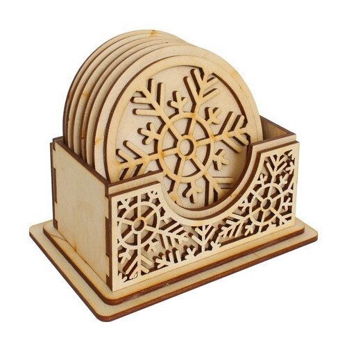 Astra & Craft Деревянная заготовка подставка под горячее Снежинки (L-850)