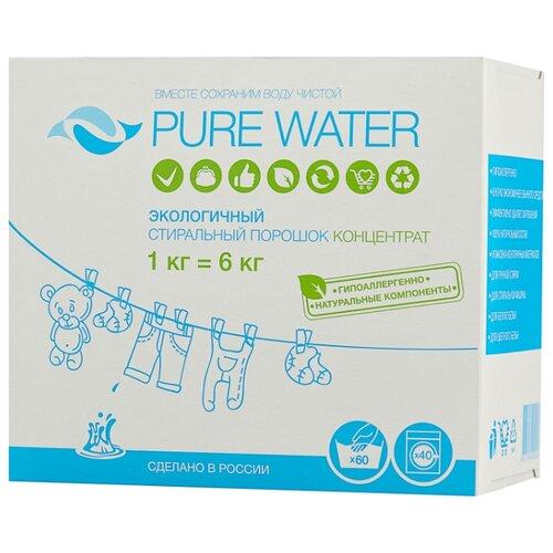 Стиральный порошок PURE WATER Экологичный концентрат 1 кг картонная пачка стиральный порошок topperr active концентрат универсальный 3 кг