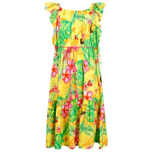 Платье Aletta размер 104, желтый/зеленый/розовый