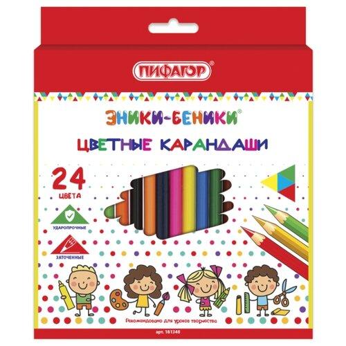 Купить Пифагор Карандаши цветные Эники-беники 24 цвета (181348), Цветные карандаши