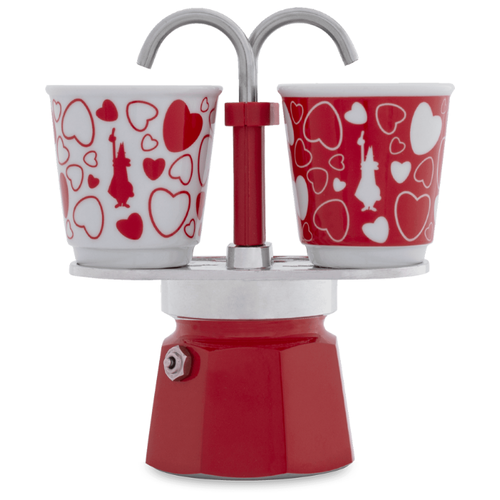 Гейзерная кофеварка Bialetti Mini Express (2 чашки), красный/белый/серебристый